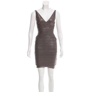 Herve Leger Coated Bandage Dress Metallic Gray
